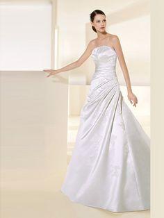 A-Line Strapless Neckline Satin Wedding Dress