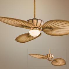 "52"" Minka Aire Terrana Bahama Beige Ceiling Fan with Light"