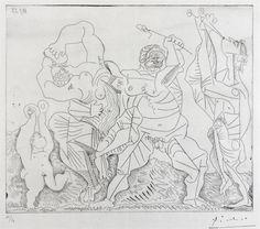 """Pablo Picasso, """"Scéne Bucolique avec Amour aux Castagnettes"""", 1955"""