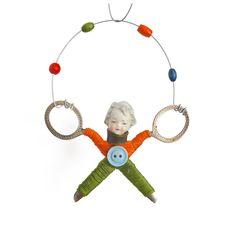 little JUGGLER (7), original art doll ornament, found object art, mixed media assemblage, by Elizabeth Rosen by ElizabethRosenArt on Etsy https://www.etsy.com/listing/240979040/little-juggler-7-original-art-doll