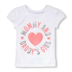 Toddler Girls Short Sleeve 'Mommy And Daddy's Girl' Glitter Graphic Tee