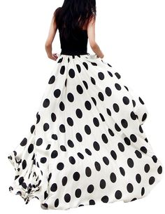 Charming Chiffon Polka Dot Pattern Long Maxi Skirt Black&White