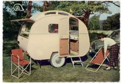Old school vintage camper - Escargot travel caravan | Tiny trailer <O>...Re-pin brought to you by agents of #carinsurance at #houseofinsurance in Eugene, Oregon