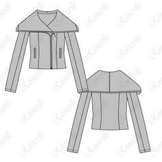 Women's Shawl Collar Jacket Fashion Flat Template