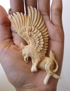Bali Pendant Griffin Lion EAGLE From Buffalo Bone Carving w/ Silver 925_u632 in Antiques, Asian Antiques, Southeast Asia   eBay