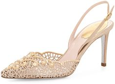 Rene Caovilla Pearly-Lace Embroidered Sandal, Champagne