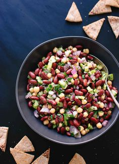 Lebanese Lemon-Parsley Bean Salad  Black beans instead of kidney, no celery/onion/tomato