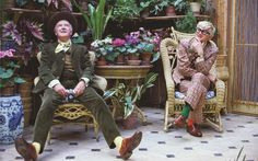 Peter Schlesinger photograph of David Hockney and Cecil Beaton at Reddish House, 1970