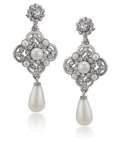 My earrings, I think! Carolee Earrings, Imitation Pearl Linear Drop Earrings - - Macy's