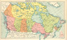 vintage map of canada | British Americas 1914: DOMINION OF CANADA. Old vintage Political Map.