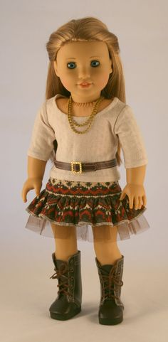 American Girl Doll Clothes - Southwest Print Skirt, Faux Leather Vest, Sweater Tee, Leather Belt, and Necklace (Inspiration added to board -r) American Girl Outfits, My American Girl Doll, American Girl Crafts, American Doll Clothes, Ag Doll Clothes, Doll Clothes Patterns, Doll Patterns, Dress Patterns, Journey Girls