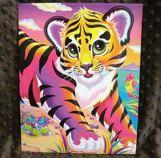 Lisa Frank Paper Folder Tiger Forrest Fawn Emerald 2 Pocket 3 Ring Portfolio #LisaFrank
