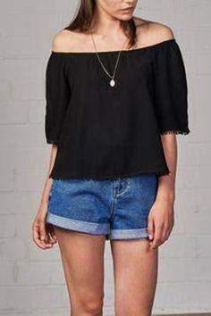Shoptiques Products: Off Shoulder Black Shirt