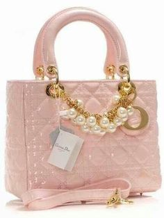 Dior Pink Patent Leather bag with pearls -There are no words. Only a moment of silence for how gorg this is. Dior Handbags, Purses And Handbags, Dior Bags, Dior Purses, Designer Handbags, Beautiful Handbags, Beautiful Bags, Gucci, Fendi