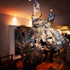 Close up - African wild dog sculpture