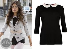 Shop Your Tv: Pretty Little Liars: Season 4 Episode 12 Aria's Peter Pan Collar Sweater Pretty Little Liars Seasons, Fashion Tv, Pll, Season 4, Peter Pan, Shoe Boots, 6th Form, Aria Montgomery, Crop Tops