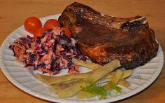 Fennel & cabbage coleslaw, dragon tongue beans, orange cherry tomatoes, prime rib steak