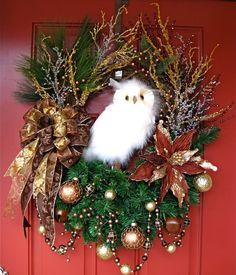 HUGE Brown Copper and Gold Luxury Winter Owl Christmas Wreath, by IrishGirlsWreaths