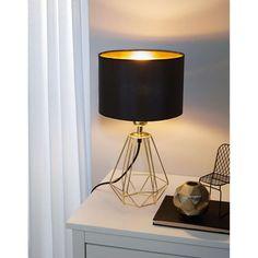 Lampe abat-jour - Luminaire Carlton 2 cm - Or Tripod Lamp, Desk Lamp, Small Home Office Desk, Retro Lampe, L Shaped Desk, Brass Table Lamps, Lighting Online, Color Negra, Art Deco
