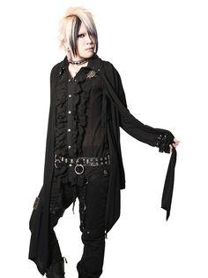 BLACK FLARE BELT Long Cardigan | CDJapan. See more at http://www.cdjapan.co.jp//apparel/sexpot.html #punk #japanesefashion