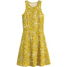 H&M Sleeveless dress (£7.99) ❤ liked on Polyvore featuring dresses, racerback jersey, h&m dresses, yellow jersey, yellow dress and yellow sleeveless dress