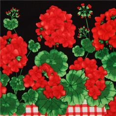 black geranium in stripes fabric by Timeless Treasures USA