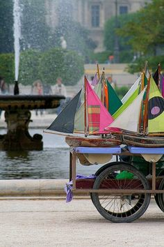 colorful boats to sail