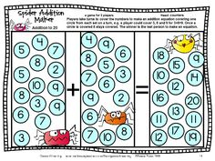 Great addition challenge! Students find and cover equations. Gets challenging as there are fewer and fewer numbers left! From Addition Board Games by games 4 Learning - 27 printable addition board games. $