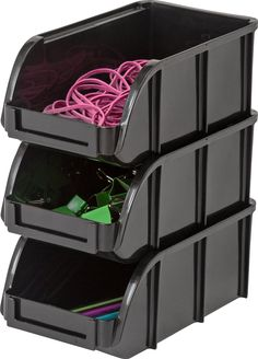 IRIS USA Modular Stacking Bin, Small, Black: Amazon.ca: Home & Kitchen