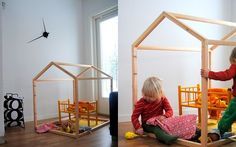 Love the versatility of this sturdy playhouse.  I can just imagine all the sheets, blankets, and other found goodies my kid would use to constantly change the decor.  Because the framed out playhouse doesn't have walls, even if built larger, it doesn't look like something heavy in the middle of the room. Who needs walls when you've got imagination? Simple and inspiring design that you can DIY.