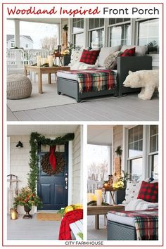 Using cozy textures like wool and faux fur tartan plaid buffalo check and fun holiday accessories that felt rustic to create this beautiful Holiday Porch Christmas Porch, Outdoor Christmas Decorations, Holiday Decor, Rustic Christmas, Apartment Christmas, Christmas Gifts, Holiday Ideas, French Country Farmhouse, French Country Decorating