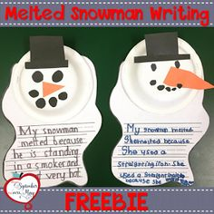 Melted Snowman Writing Craftivity After reading Sneezy the Snowman by Maureen Wright, your students will enjoy making this cute melted snowman craft along with a fun cause and effect writing prompt! Perfect for an easy transition back from winter 1st Grade Writing, Kindergarten Writing, Kindergarten Crafts, Math Crafts, Kindergarten Christmas, Daycare Crafts, Teaching Writing, Preschool Learning, Kindergarten Classroom