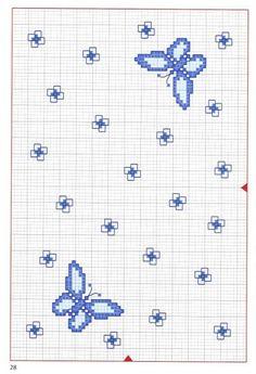 Butterfly Blue B Cross Stitch Boards, Cross Stitch Bookmarks, Butterfly Cross Stitch, Cross Stitch Flowers, Funny Cross Stitch Patterns, C2c Crochet, Cross Stitch Animals, Modern Cross Stitch, Stella Dot