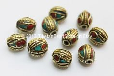 10 beads - Tibetan Oval Beads with Brass, Turquoise & Coral Inlays -9mm x 12mm - Ethnic Tibetan Oval Brass Inlay Beads - $7.99