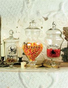 POISON APOTHECARY JARS (SET OF 3) - These are definitely something that can be DIY