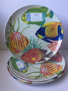 Coastal Collection Tropical Fish MELAMINE Dinner Plates Set Of 4 Nautical & 222 Fifth 8 pc Melamine Dinnerware Set ~4 Dinner \u0026 4 Salad~ Coastal ...