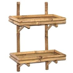 NEW-Bathroom-Shelf-Bamboo-Accent-Wall-Shelves-2-Tier-Living-Bedroom-Kitchen…