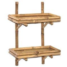 NEW-Bathroom-Shelf-Bamboo-Accent-Wall-Shelves-2-Tier-Living-Bedroom-Kitchen…