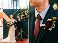 Romantic Brewery Inspiration // groom in a navy suit jacket with bold burgundy accents