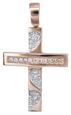 Γυναικείος σταυρός σε ροζ χρυσό Κ14 022153
