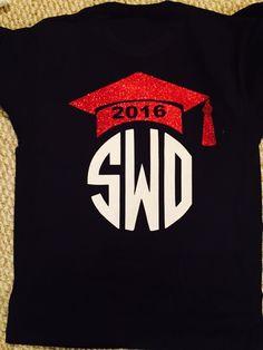 Graduation cap tshirt with monogram with vinyl decal created with cricut and heat transfer vinyl.  Glitter vinyl.