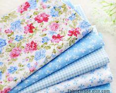 Fat Quarter Bundle / Light Blue Cotton Bundle Fabric / Quilting Fabric Bundle/ Blue Fabric - 5 Bundle each
