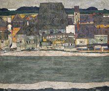 Casas junto al río. La ciudad vieja, Egon SchieleEgon Schiele Casas junto al río. La ciudad vieja 1914 Óleo sobre lienzo. 100 x 120,5 cm Museo Thyssen-Bornemisza, Madrid