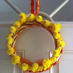 Easter chick wreath, peeps