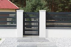 House Fence Design, Front Wall Design, Gate Designs Modern, Modern Fence Design, Front Gates, Front Yard Fence, Modern Entrance, Underground Homes, Modern Farmhouse Exterior