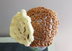 Brown Baby Hat Crochet Baby Cloche Cotton Baby Cap by lanacooper,