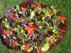 Ruby wedding flower salad from Maddocks Farm Organics.