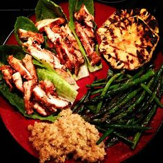 Clean eating paleo dinner - Spicy grilled chicken lettuce boats, grilled pineapple, sautéed asparagus & green beans with quinoa.