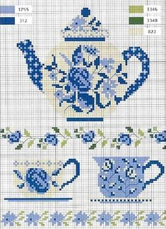 I love it, I love it. I love it, I love it!!! cross stitch chart in Blue & White...with a smidgen of green...