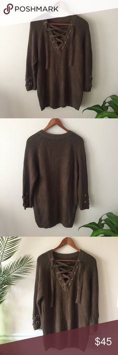 Oversized Olive Lace Up Sweater Oversized Olive Lace Up Sweater   Unbranded. Thick chunky olive knit. Lace up detail at collar. Super cozy, fall fashion! Perfect condition/ no flaws! One size fits most. Fits oversized. For XS-L Length: 30 inches Bust: 19 inches flat Sweaters